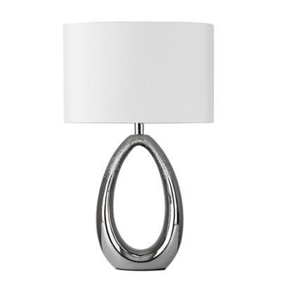 MiniSun Tanella Teardrop LED Table Lamp with Faux Silk Shade - Chrome & White