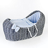 Ginnini Grey Pod Moses Basket (Bubble Blue)