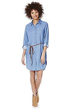 Vero Moda Karda Denim Shirt Dress with Belt - Blue