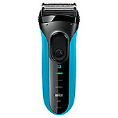 Braun 3010S Series 3 Mens Electric Foil Shaver - Blue