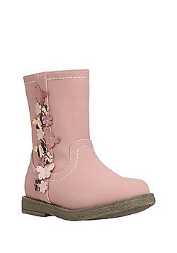 F&F 3D Butterfly Faux Suede Boots - Pink