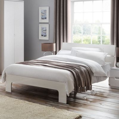 Happy Beds Manhattan Wood Low Foot End Bed - White - 4ft6 Double