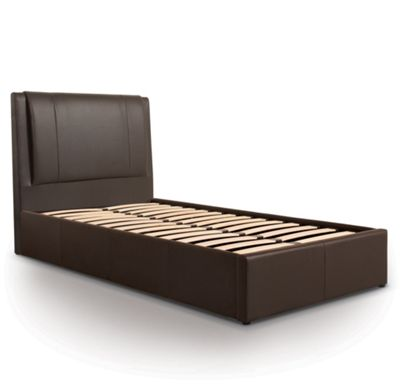 Extra Padded Ottoman Gas Lift Storage Bed Upholstered in Faux Leather - Single - Brown