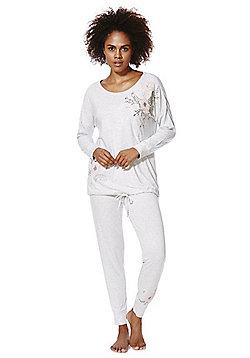 F&F Floral Embroidered Pyjamas - Grey marl