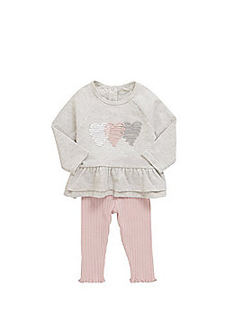 F&F Piped Heart Long Sleeve T-Shirt and Leggings Set - Grey & Pink