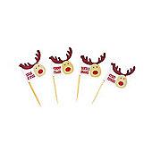 Christmas Rocking Rudolf Food Picks - 20 Pack
