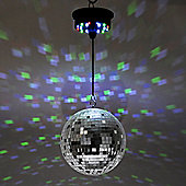 "Battery Operated Multi Coloured 8"" Rotating LED Mirror Ball Ceiling Light"