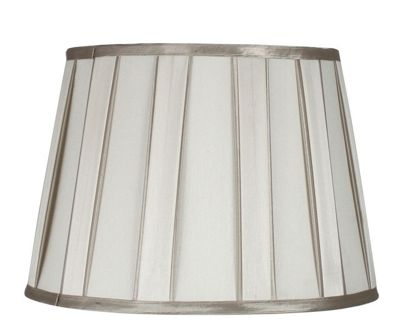 Ivory Pleated 15 Lamp Shade Champagne Trim Silver Dual Fitting