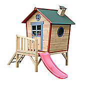 Redwood Tower Wooden Playhouse with Slide, Painted Wendy House