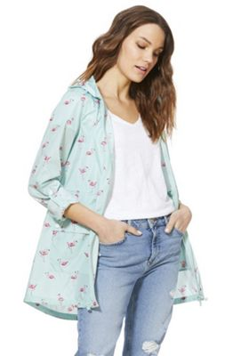 F&F Shower Resistant Flamingo Print Rain Mac Blue/Pink 6