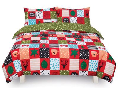 Festive Season Red Double Bed Duvet Quilt Cover Set