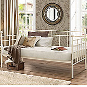 Happy Beds Lyon Metal Day Bed with Memory Foam Mattress - Cream - 3ft Single
