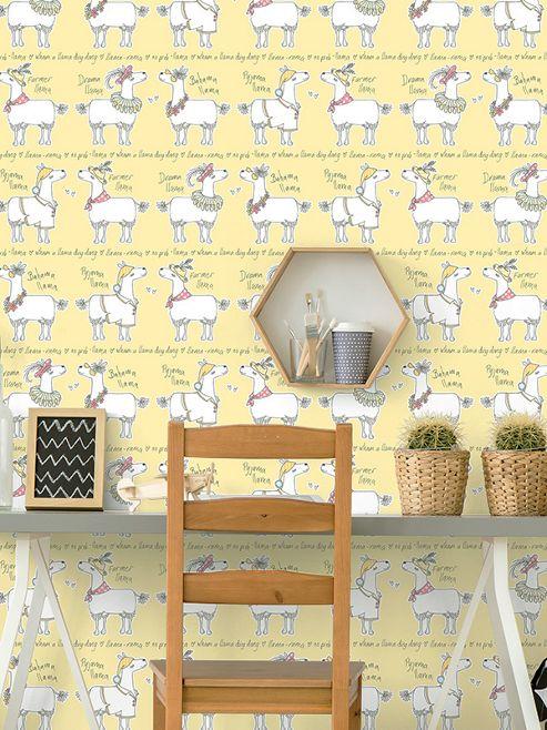 Llama-Rama Yellow Wallpaper Belgravia L9732