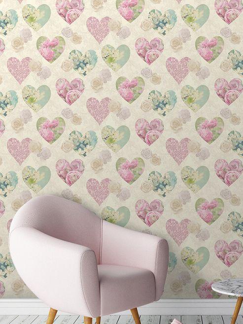 Novelty Hearts Cream Wallpaper
