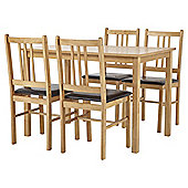Cheltenham Table and 4 Chair Set, Oak-effect and Chocolate
