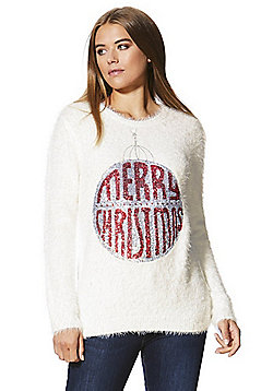 F&F Sequinned Bauble Eyelash Knit Christmas Jumper - Cream