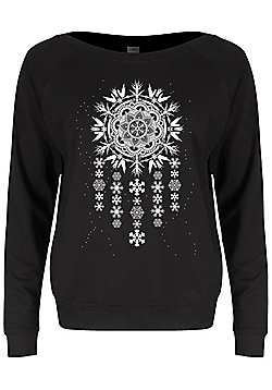 Unorthodox Arctic Mandala Dreamcatcher Ladies Black Slounge Sweater - Black