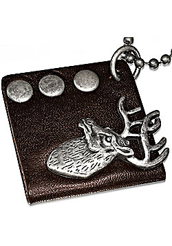 Urban Male Brown Leather Dog Tag Style Stag's Head Pendant & Chain