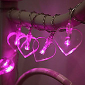 10 Pink LED Heart Battery Fairy Lights