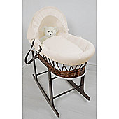 Cuddles Collection Dark Wicker Moses Basket (Waffle Cream)
