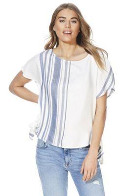 F&F Striped Side Knot T-Shirt Cream 10