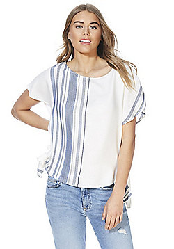 F&F Striped Side Knot T-Shirt - Cream
