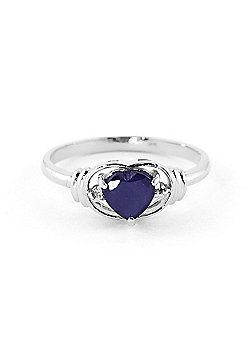 QP Jewellers Diamond & Sapphire Halo Heart Ring in 14K White Gold