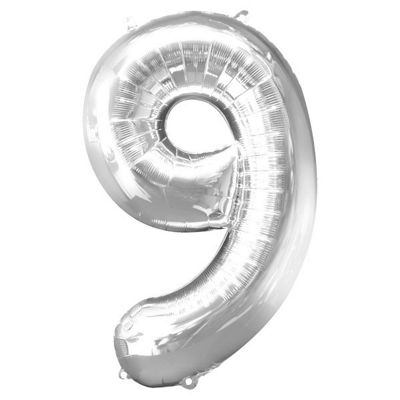 Silver Number 9 Balloon - 34 inch Foil
