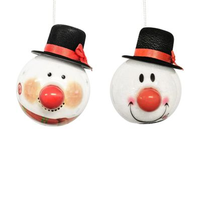 Straits Novelty LED Baubles Set of 2, Snowmen