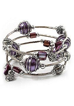 Silver-Tone Beaded Multistrand Flex Bracelet (Purple)