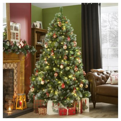 7ft Pre Lit Christmas Tree, New Forest Pine (350 white LED's) - Buy 7ft Pre Lit Christmas Tree, New Forest Pine (350 White LED's