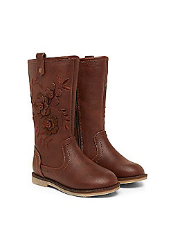 B Young Girls Brown Flower Boots Size 2 adlt