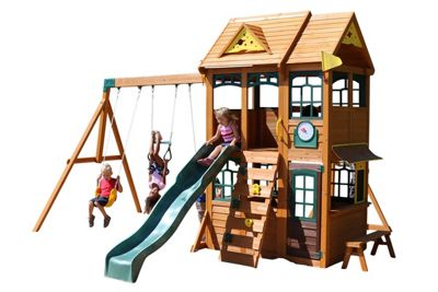 Selwood Noir Climbing Frame - Swings, Slide & Play Kitchenette