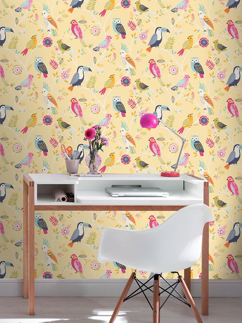 Rasch Birds Wallpaper Yellow 293029