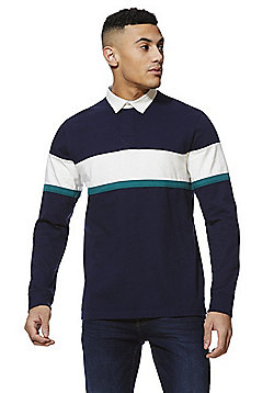 F&F Striped Long Sleeve Rugby Top - Navy