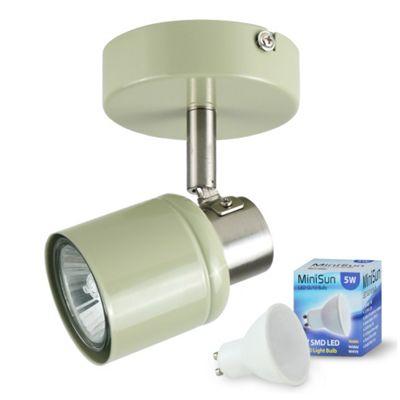 Benton Single LED Wall Spotlight Sage Green & Chrome & Warm White Bulb