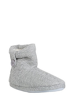 F&F Cable Embossed Jersey Bootie Slippers - Grey