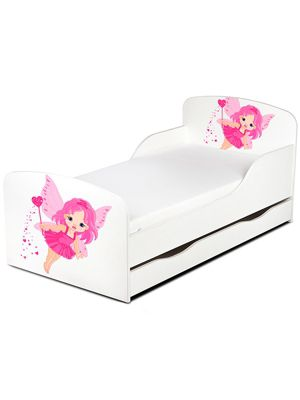 PriceRightHome Fairy Dust Toddler Bed With Underbed Storage Plus Fully Sprung Mattress