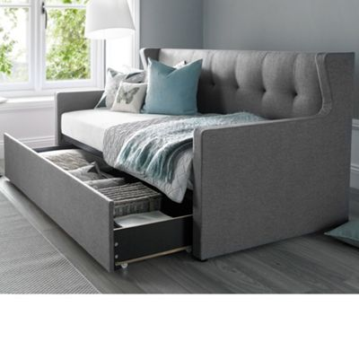 Happy Beds Hunter Fabric Day Bed and Underbed Trundle Guest Bed with 2 Orthopaedic Mattresses - Grey - 3ft Single