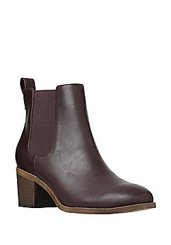 F&F Sensitive Sole Block Heel Chelsea Boots - Burgundy