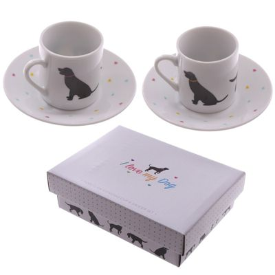 Puckator I Love My Dog Espresso Cup and Saucer Set of 2