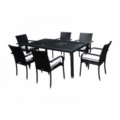 Roma 6 Chairs And Open Leg Rectangular Table Set in Black and Vanilla