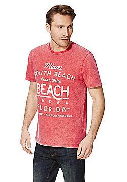F&F Miami Acid Wash T-Shirt - Red