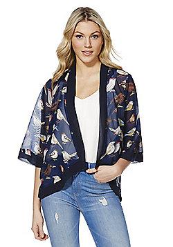 Mela Bird Print Kimono - Blue