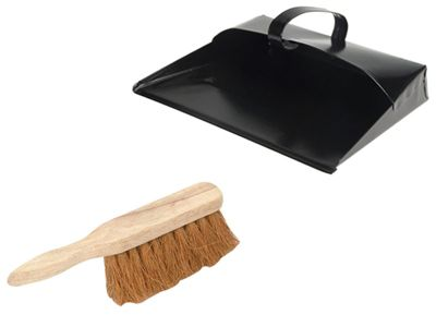 Faithfull Dustpan and Brush, Metal, Heavy Duty with Coco Hand Brush
