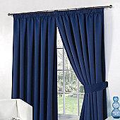 "Dreamscene Pair Thermal Blackout Pencil Pleat Curtains, Navy - 66"" x 72"" (167x182cm)"