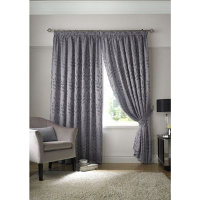 Tivoli Jacquard Silver Leaf Pencil Pleat Lined Curtains - 46x54 Inches (117x137cm)