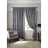 Tivoli Jacquard Leaf Pencil Pleat Lined Curtains - Silver