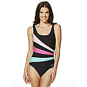 Zoggs Colour Block Scoop Back Swimsuit - Black