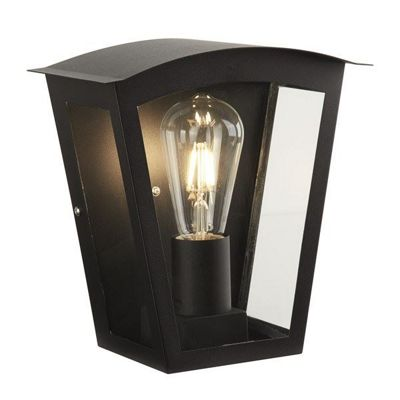 BOX OUTDOOR 1 LIGHT WALL BRACKET, BLACK, CLEAR GLASS